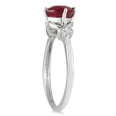 1.80 Carat Diamond and Ruby Ring in 10K White Gold