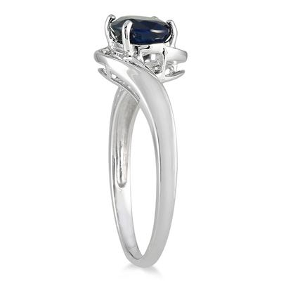 1.70 Carat Oval Cabochon Sapphire and Diamond Ring in 10K White Gold