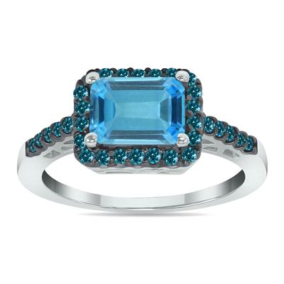 2 1/2 Carat Emerald Cut Blue Topaz and Blue Diamond Ring in 10K White Gold