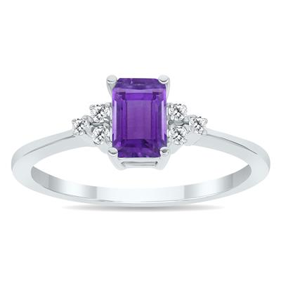 Amethyst and Diamond Regal Ring in 10K White Gold
