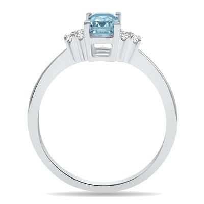Aquamarine and Diamond Regal Ring in 10K White Gold