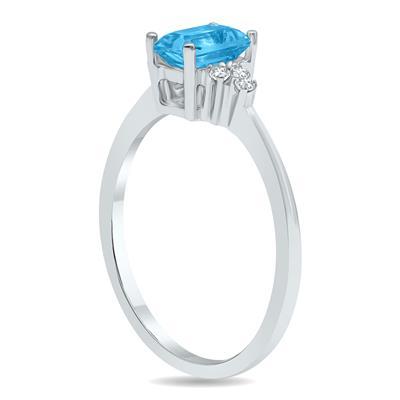 Blue Topaz and Diamond Regal Ring in 10K White Gold