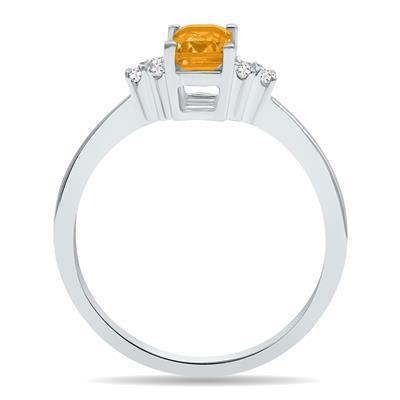 Citrine and Diamond Regal Ring in 10K White Gold