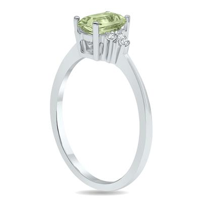 Green Amethyst and Diamond Regal Ring in 10K White Gold