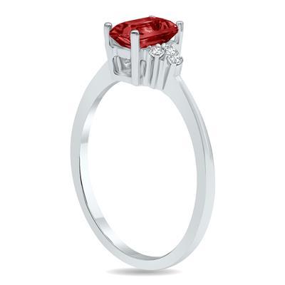 Garnet and Diamond Regal Ring in 10K White Gold