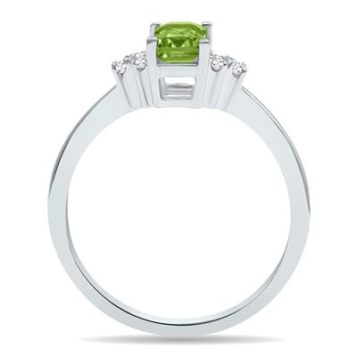 Peridot and Diamond Regal Ring in 10K White Gold