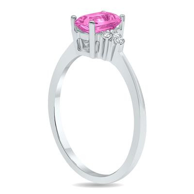 Pink Topaz and Diamond Regal Ring in 10K White Gold