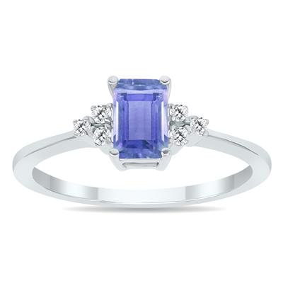 Tanzanite and Diamond Regal Ring in 10K White Gold