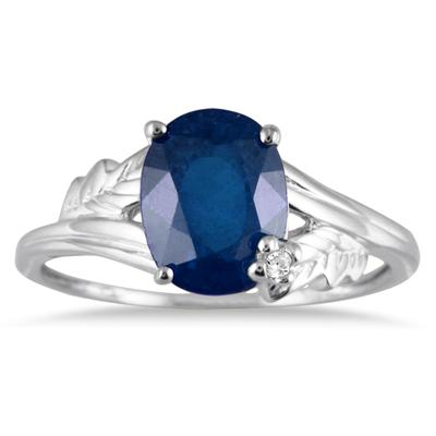 2 1/4 Carat Oval Sapphire and Diamond Leaf Ring in 10K White Gold
