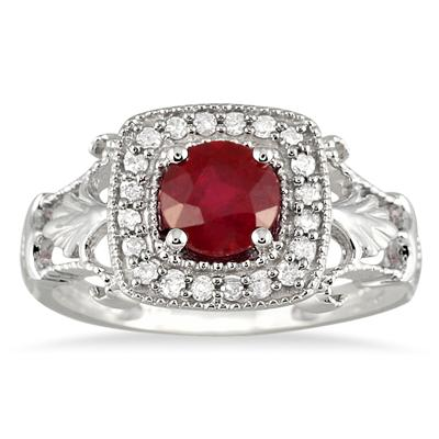 1 Carat Ruby and Diamond Antique Halo Ring in 10K White Gold
