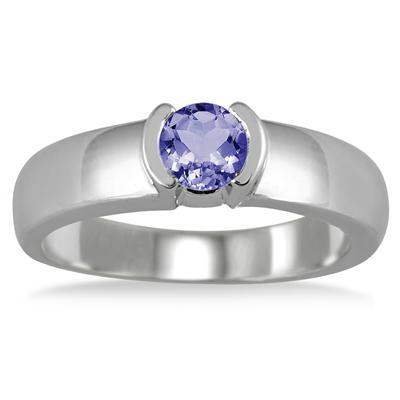 1/2 Carat Half Bezel Tanzanite Ring in .925 Sterling Silver