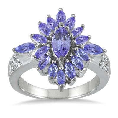 2.15 Carat Tanzanite and White Topaz Ring in .925 Sterling Silver