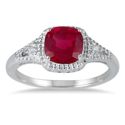 Szul 7mm Created Ruby and Diamond Ring in .925 Sterling Silver