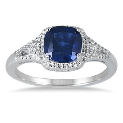 7MM Created Sapphire and Diamond Ring in .925 Sterling Silver