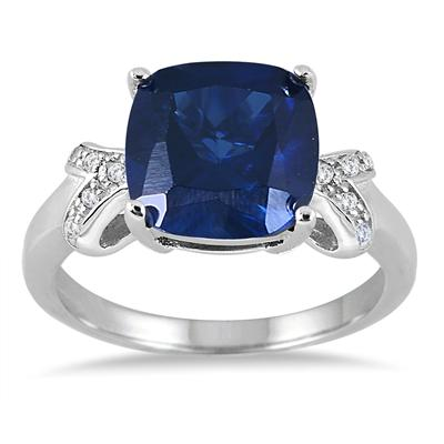 10MM Cushion Cut Created Sapphire Ring in .925 Sterling Silver