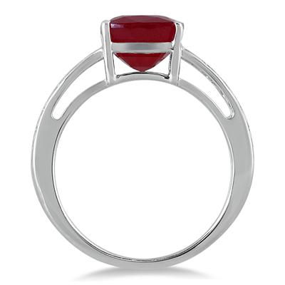 2.75 Carat Cushion Cut Ruby Engraved Ring in .925 Sterling Silver