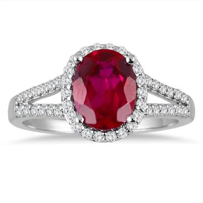 Split Shank Ruby and Diamond Halo Ring in 14K White Gold