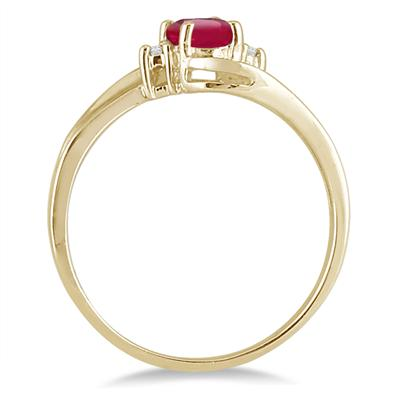 Ruby Gemstone and Diamond Wave Ring 14k Yellow Gold