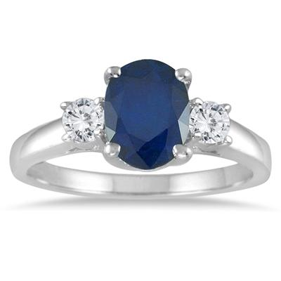 1.55 Carat Sapphire and Diamond Three Stone Ring in 14K White Gold