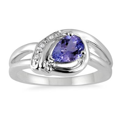 Pear Shape Tanzanite and Diamond Ring in .925 Sterling Silver