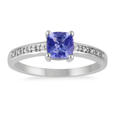 Cushion Cut Tanzanite and Diamond Ring in .925 Sterling Silver