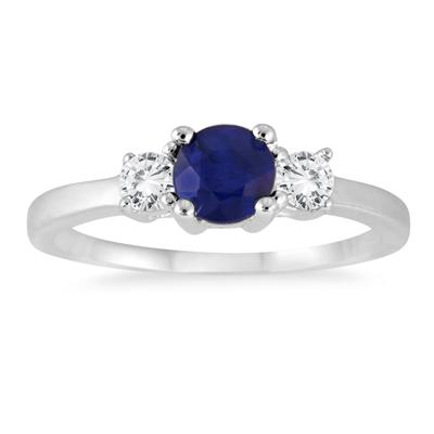Sapphire and White Topaz Three Stone Ring in .925 Sterling Silver