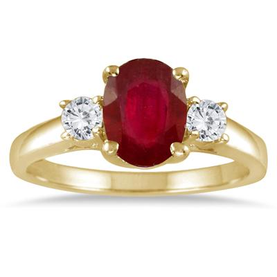 1.35 Carat Ruby and Diamond Three Stone Ring in 14K Yellow Gold