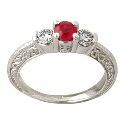 14-kt. Ruby and Diamond Ring in White Gold