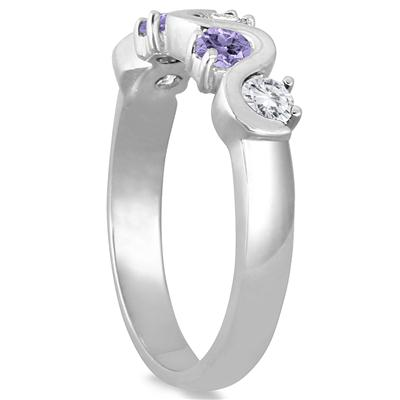 1.00 Carat Tanzanite and White Topaz 5 stone Band in .925 Sterling Silver