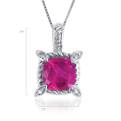 2.90 Carat Cushion Cut Created Ruby and Diamond Pendant in .925 Sterling Silver
