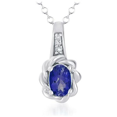 1/2 Carat All Natural Sapphire and Diamond Pendant in .925 Sterling Silver