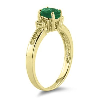 Emerald and Diamond Regal Channel Ring in 14K Yellow Gold