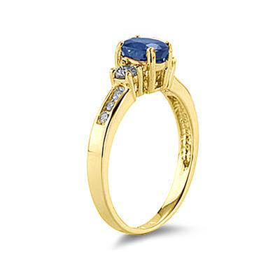 Sapphire and Diamond Regal Channel Ring in 14K Yellow Gold