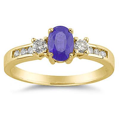 Tanzanite and Diamond Regal Channel Ring in 14K Yellow Gold