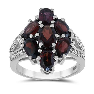 Garnet and White Topaz Cocktail Ring in .925 Sterling Silver