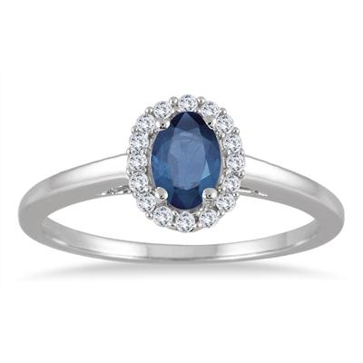 6x4MM Oval Shape Sapphire and Diamond Halo Ring in 10K White Gold