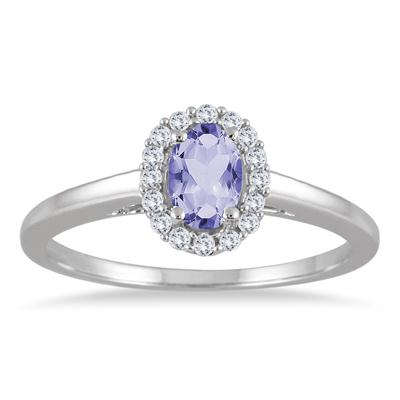 6x4MM Oval Tanzanite and Diamond Halo Ring in 10K White Gold
