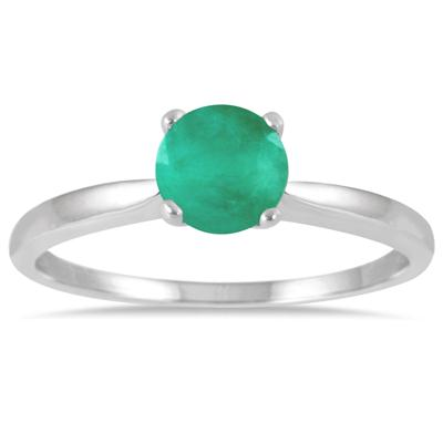 1/2 Carat Emerald Solitaire Ring in .925 Sterling Silver