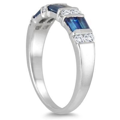 1.50 Carat TW Sapphire and White Topaz Ring in .925 Sterling Silver