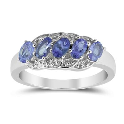 1.32 Carat T.W Oval Tanzanite 5 Stone Ring in .925 Sterling Silver