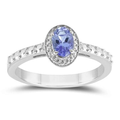 6X4mm Oval Halo Tanzanite Ring in .925 Sterling Silver