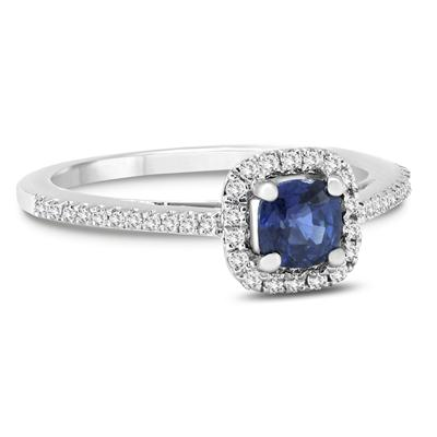 Cushion Sapphire and Diamond Halo Engagement Ring in 14K White Gold