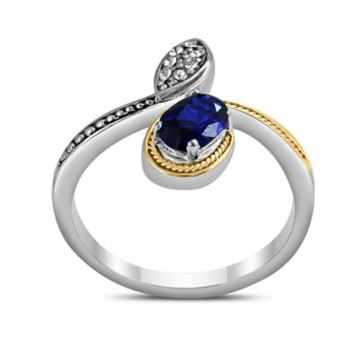 14K Gold and .925 Sterling Silver Created Blue Sapphire and White Topaz Cynthia Ring