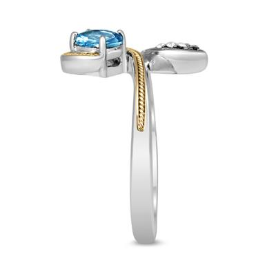14K Gold and .925 Sterling Silver Blue and White Topaz Cynthia Ring