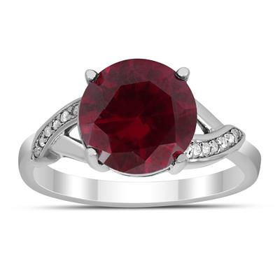 10mm Lab Created Ruby Ring and Diamond Ring in .925 Sterling Silver