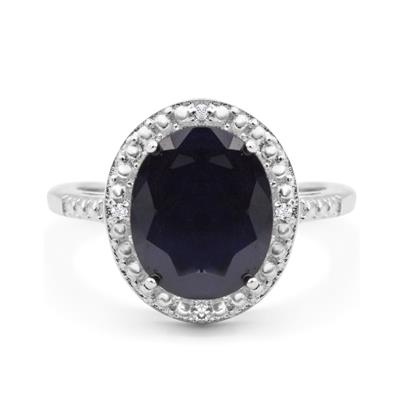 4 Carat Oval Shape Sapphire and Halo Diamond Ring In .925 Sterling Silver