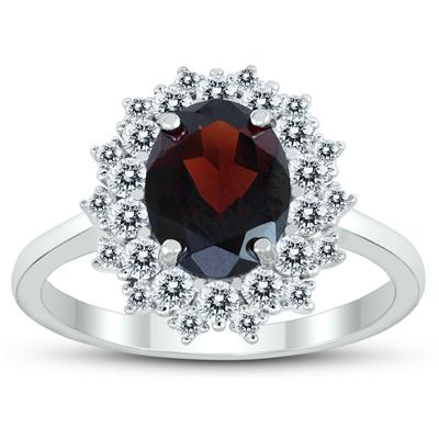 Genuine Garnet and White Topaz Royal Halo Cocktail Ring