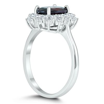 Genuine Garnet and White Topaz Royal Halo Cocktail Ring in .925 Sterling Silver