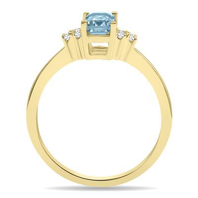 Aquamarine and Diamond Regal Ring in 10K Yellow Gold