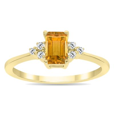 Citrine and Diamond Regal Ring in 10K Yellow Gold